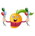 mango holding balloons on white background vector image