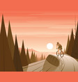 mountain bike riding in forest and coast scene vector image