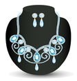 necklace with blue jewels and pearls vector image vector image