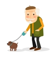 Old man walking with dog vector image