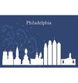Philadelphia city skyline on blue background vector image vector image