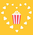 popcorn popping in heart frame red yellow strip vector image vector image