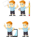 Red Head Boy Customizable Mascot 10 vector image vector image