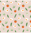 seamless pattern with hand drawn healthy food vector image vector image