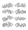 set of abstract outline fish vector image