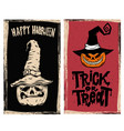 set of halloween flyers with scary pumpkin vector image