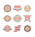 set valentines day badges and stickers vector image vector image