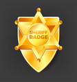 sheriff badge golden star western style vector image vector image
