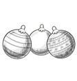 sketch of christmas balls vector image