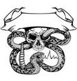 skull and snake with ribbon black and white vector image vector image