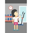 Sportive woman drinking water vector image vector image
