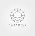 sunset wave logo symbol design vector image vector image