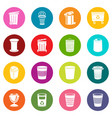 trash can icons set colorful circles vector image vector image