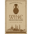 wine label with with jug clay vector image vector image