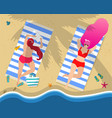 young girls in swimwear relaxing lying on beach vector image vector image