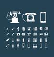 retro phone icon set vintage white icons vector image
