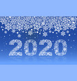 2020 new year text number snowflake on blue vector image vector image