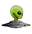 alien is sitting in a flying saucerhand drawn vector image vector image