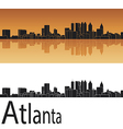 Atlanta skyline in orange background vector | Price: 1 Credit (USD $1)