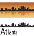 atlanta skyline in orange background vector image vector image