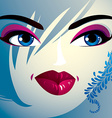 Attractive woman with stylish bright make-up and vector image