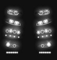 automobile glowing headlights realistic set vector image vector image