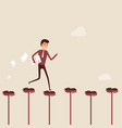 businessman walking on the red dollar signway vector image