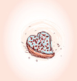Cake in the shape of heart Hand drawn sketch on vector image vector image