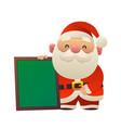 cartoon cute santa claus with message board vector image vector image