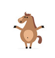 cartoon horse mascot with open arms vector image vector image