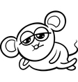 cartoon kawaii mouse coloring page vector image