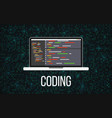 coding laptop concept on binary background vector image vector image