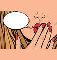 comic bubble closeup of female hand closed mouth vector image vector image