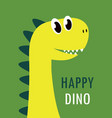 cute cartoon happy dinosaur card vector image