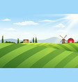 farm landscape with barn and windmill vector image vector image