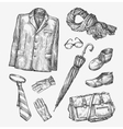 fashion collection men clothing hand vector image