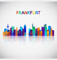 frankfurt skyline silhouette in colorful vector image vector image