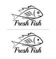 fresh fish logo symbol sign black colored set 10 vector image vector image