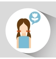 girl with icon vector image vector image