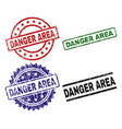 grunge textured danger area stamp seals vector image vector image