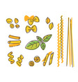 italian pasta set and basil leaf vector image