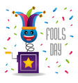 jack in box hat confetti decoration fool day vector image vector image