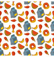 kids organic menu hand drawn seamless pattern vector image vector image