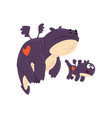 loving mother dragon and her baby cute purple vector image vector image