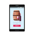 mobile application lets to order red wine vector image