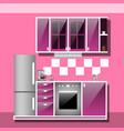 modern interior kitchen room in pink tones vector image vector image