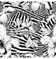 Monochrome seamless vintage flower pattern vector image