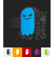 monster paper sticker with hand drawn elements vector image