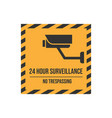 no trespassing text with cctv sign vector image vector image