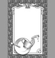 old decorative frame and falling coffee cup vector image